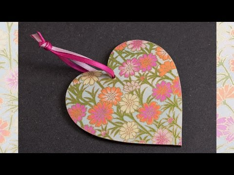 How to Decoupage a Wooden Heart using Chiyogami Paper