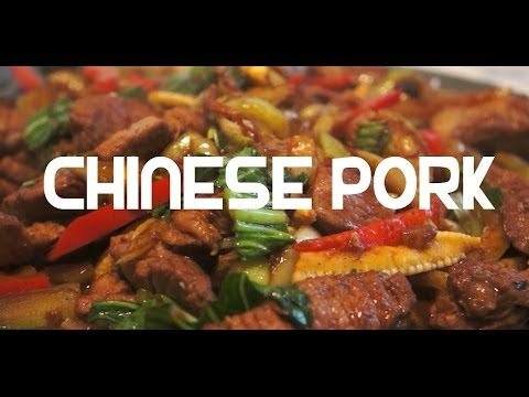Chinese Pork Stir Fry Recipe - Chow Mein Noodles Choi Cabbage Ginger