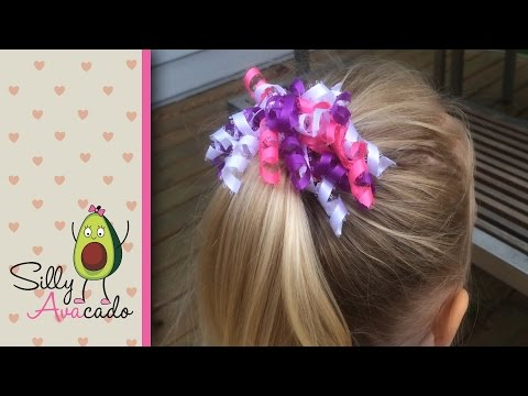 How to Make a Curly Ribbon Hair Bow! Easy DIY Girl Hair Bow Craft Tutorial! Add Hello Kitty ribbon!