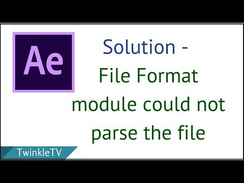 Fix After Effects Error | The File Format Module Could Not Parse the File