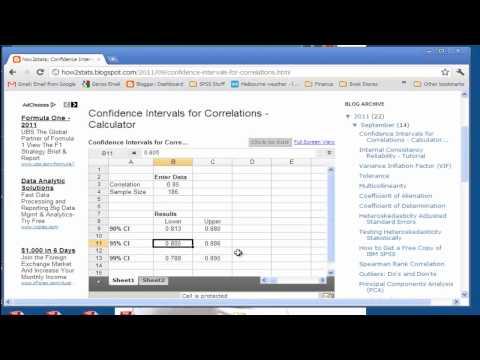 Correlation Confidence Intervals - Web Calculator