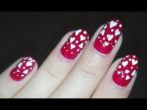 DIY Falling Hearts on Red- Nail Art Tutorial (VALENTINE's DAY): TOOTHPICK Nail Design | Rose Pearl