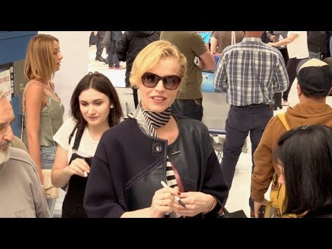 EXCLUSIVE : Eva Herzigova arriving at Nice airport for Cannes Film Festival