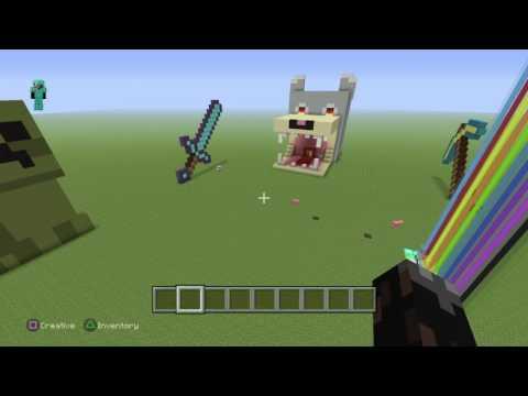 Minecraft: how to build creeper\Lightsaber pixel art