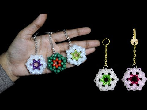 How To Make Crystal Beads Keychians At Home  || Beaded Keychains