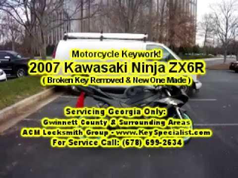 2007 Kawasaki Ninja ZX6R - Motorcycle Broken Key Removed & Made! Locksmith Duluth, GA