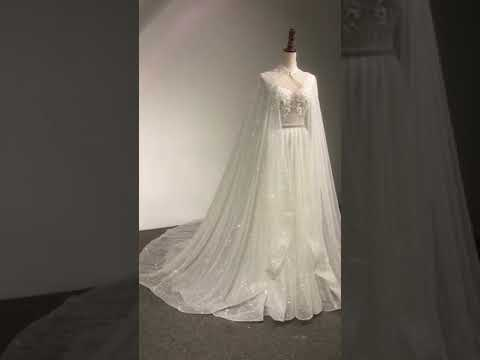 Special glitter silver cape with sparkle wedding dress