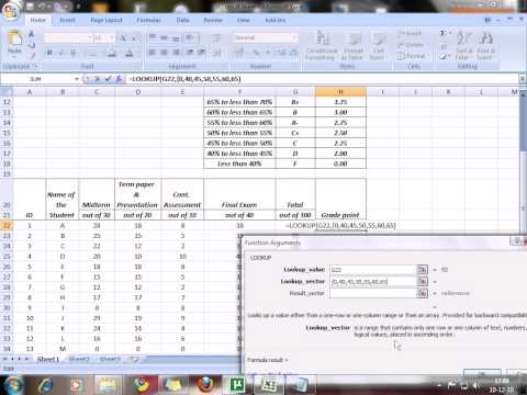 How can we find grade point using lookup from MS Excel