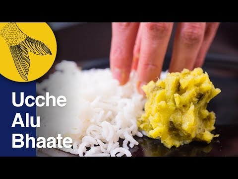 Ucche Alu Bhaate   Korola Bhaate   Bitter Gourd and Potatoes Bengali Vegetarian Recipe