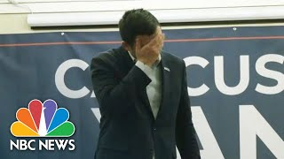 Andrew Yang Chokes Up Talking About Campaigning In Iowa Over Two Years | NBC News