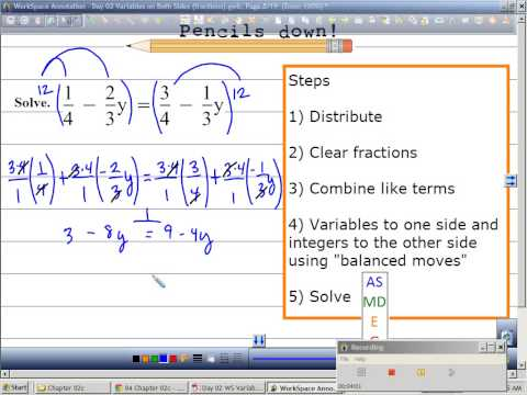 Solving Equations with Variables on each side with fractions