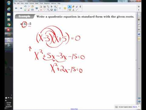 Lesson 4.3A: Write a Quadratic Equation Given Two Points