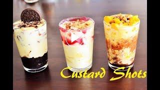 3 Delicious Custard Shots |Oreo Custard/Mango Custard/Banana Strawberry Custard  Shots