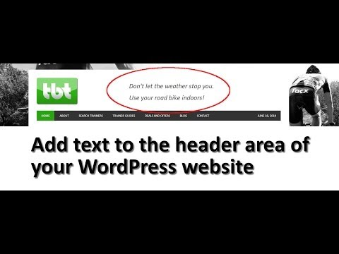 Adding text to the header area in WordPress