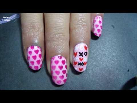 DIY nail decal with a vinyl/stencil  ~~ Pink Hearts Nail Art