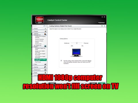 HDMI 1080p Computer Resolution Won't Fill Screen on TV