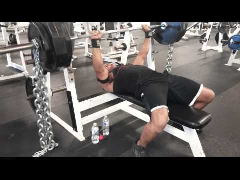 Bench pressing 365 plus chains at a bodyweight of 165lbs.