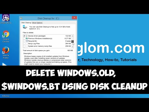 Delete Windows.old and Windows.BT using Disk Cleanup