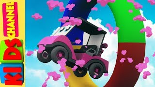 Learn colors with cartoon car stunts video for kids and children