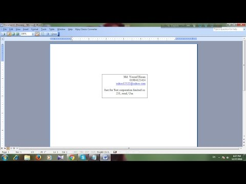 How to insert a tex box in word 2003