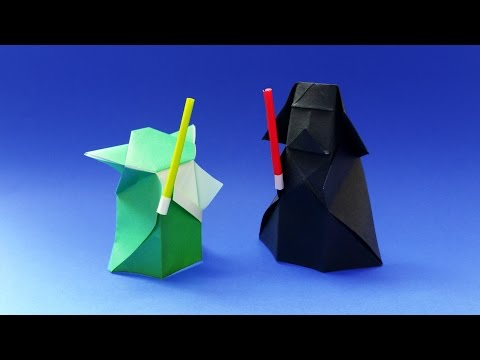 Origami Lightsaber for Yoda and Darth Vader papertoys - Star Wars - Tutorial