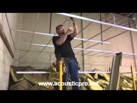 Drop Ceiling Grid n Tile Acoustical Install Video  ( Acoustic Pro )