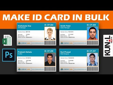 how to make ID cards or visiting cards in bulk with Photoshop Variables and excel