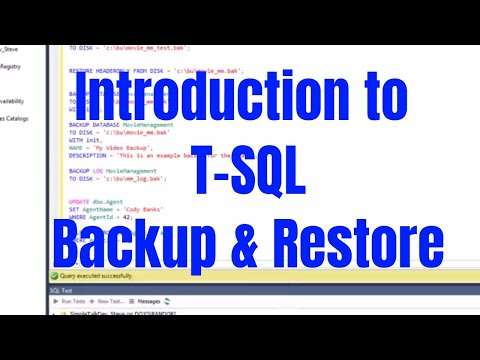 Introduction to SQL Server Backup and Restore Using T-SQL
