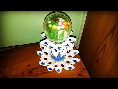 How to make snow globe from waste fuse bulb || Home decoration: plastic spoons crafts