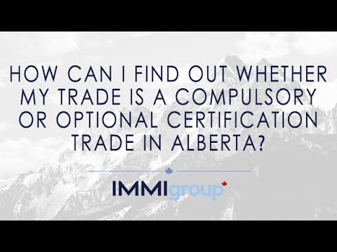 How can I find out whether my trade is a Compulsory or Optional certification trade in Alberta?