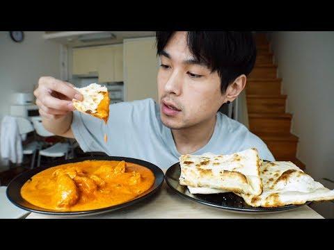 Butter Chicken & Garlic Naan - MUKBANG