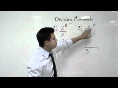 Algebra - Dividing Monomials