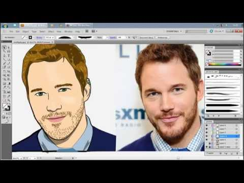 How to draw cartoon Chris Pratt ( GUARDIANS OF THE GALAXY  ) illustrator cs5 By faceDRAFT