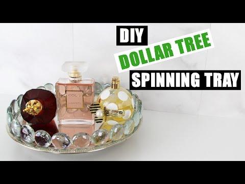 DIY DOLLAR TREE GLAM SPINNING VANITY TRAY | Z Gallerie Inspired Mirror Perfume Tray | DIY Room Decor