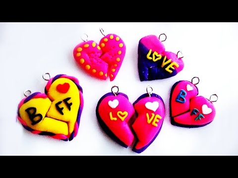 Polymer Clay Tutorial BFF / Heart Charm (DIY How to Make Tutorial)