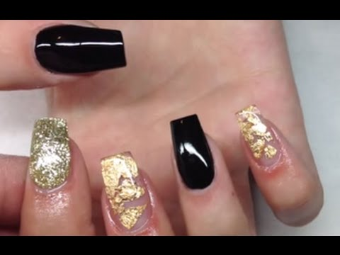 How To Apply Acrylic Nails The Right Way | Black And Gold