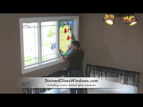 A stained glass window installation
