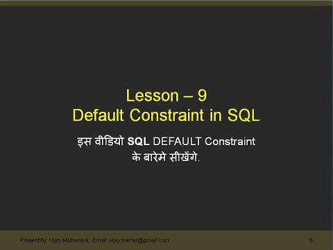 Part 9 SQL Default Constraint in Hindi