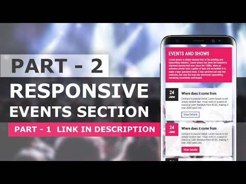CSS Responsive Events Section UI Design - Responsive Website Section Design Tutorial
