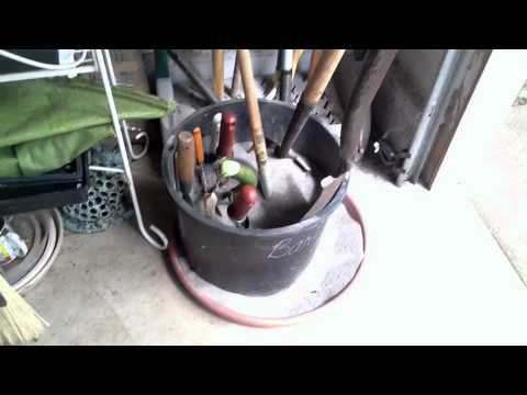 Quick And Easy Sand Barrel Keeps Garden Tools Clean