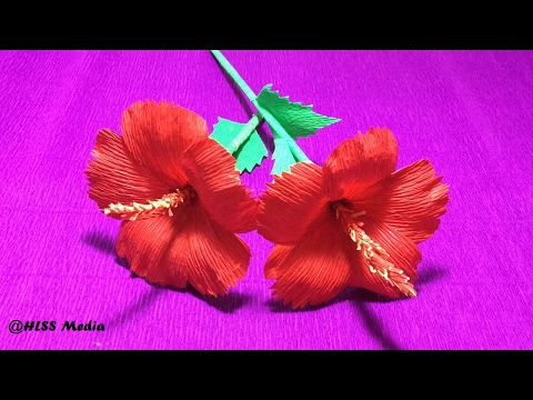 How To Make DIY Hibiscus crepe paper Flower tutorials/Hibiscus Flower origami-Craft Tutorial