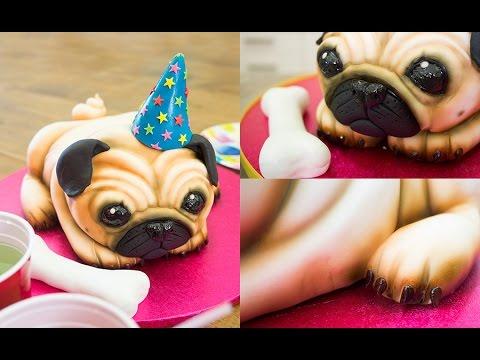 Cute Pug Dog Birthday Cake Preview | Paul Bradford Sugarcraft School