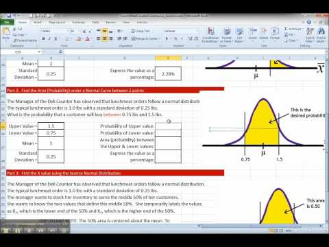 Normal Distribution with Excel - Area between 2 points