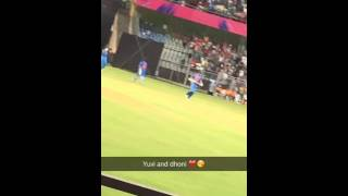 Ms Dhoni and yuvraj entry warm up match