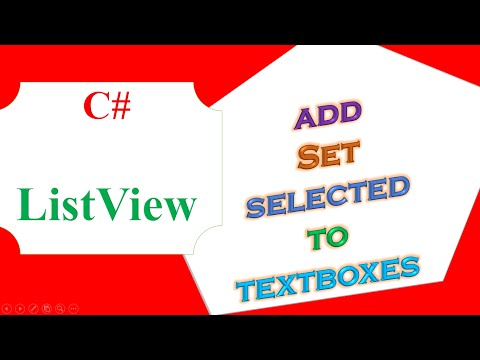 C# ListView-  Add Items,Set Selected Row Items To TextBoxes,Clear
