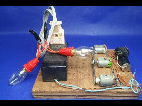 Free Energy,How to make DC Motor (Dynamo) 12V to 220V - Easy Free Energy Science Project Experiment