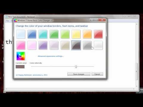 Win7 home basic taskbar color changer!