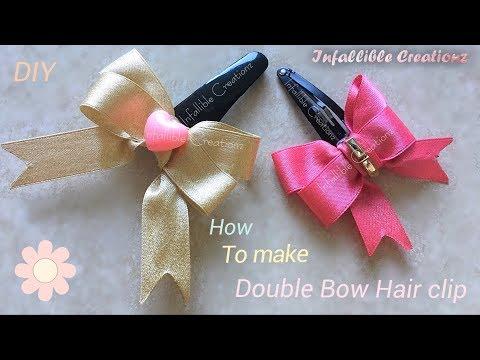 Satin ribbon bow | How to make satin ribbon double bow hair clip | kids bow hair clip