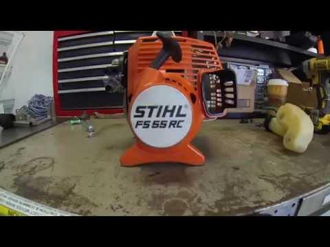 Stihl FS55 RC clutch drum, clutch, and flywheel removal.
