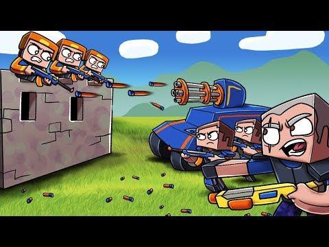 Minecraft - NERF TANK WAR: Tanks with NERF MINIGUN! (Fort vs NERF TANK)